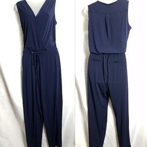 NY&Co size Medium Jumpsuit Navy Blue Pockets